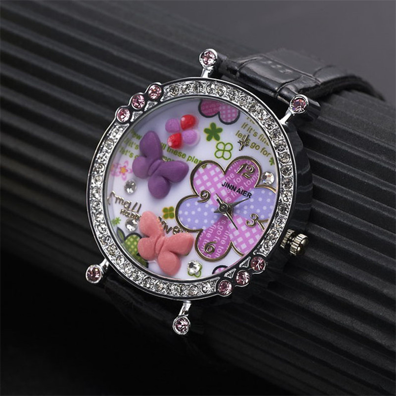 Women Watches Men Relojes Hombre Bayan Kol Saati NEW Flower Butterfly Crystal Leather Band Womens Quartz Dial Wrist Watch 5* womens bayan kol saati fashion butterfly style leather band analog quartz wrist watch ladies watch relogio feminino horloge