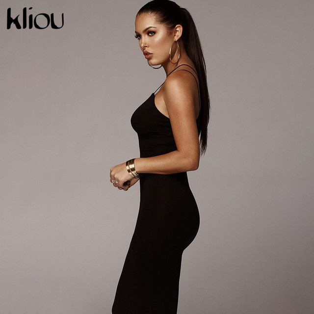 Kliou 2019 summer women sexy strap v-neck dress solid Neon color sleeveless skinny long dress female fashion vacation clothes 3