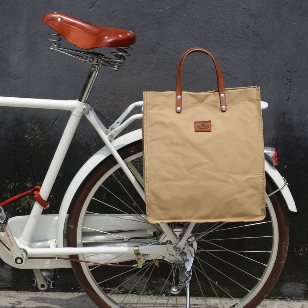 Online Shop Tourbon Vintage Tahan Air Kanvas Tas 23l Retro Bersepeda Sepeda Pannier Bagasi Trunk Bag Belakang Kursi Paket Kantong Pembawa Bagian Khaki