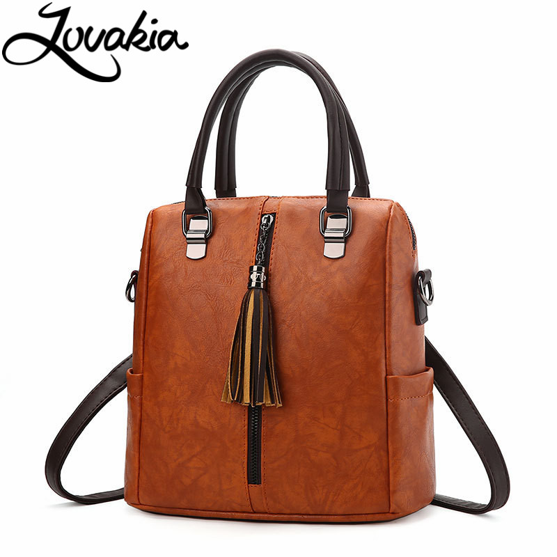 LOVAKIA tassel women leather backpack teenage backpacks for girls vintage mochila feminine backpack sac a dos femme school bags fashion vintage backpack women youth school shoulder bag male nylon backpacks for teenager girls feminine backpack sac a dos