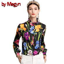 by Megyn women blouse 2019 womens elegant tops polyster blouses rose ladies office lady flower print kimon XXXL