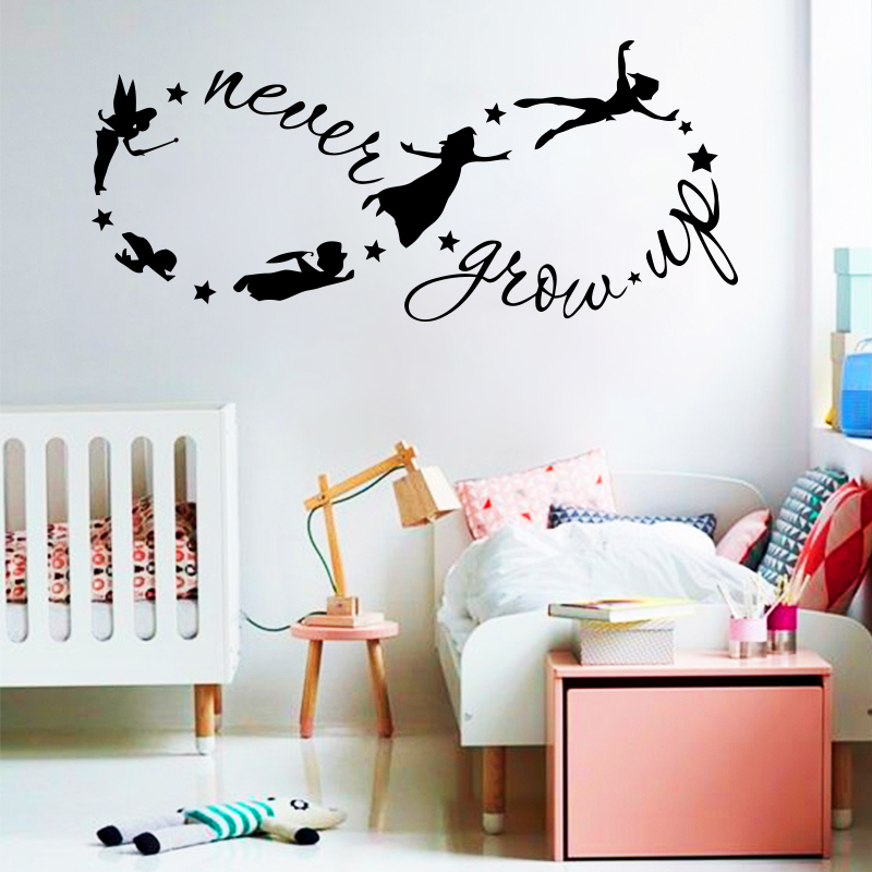 Art design cheap vinyl home decoration never grow up infinity wall sticker house decor cartoon peter pan name decals for kids in wall stickers from home