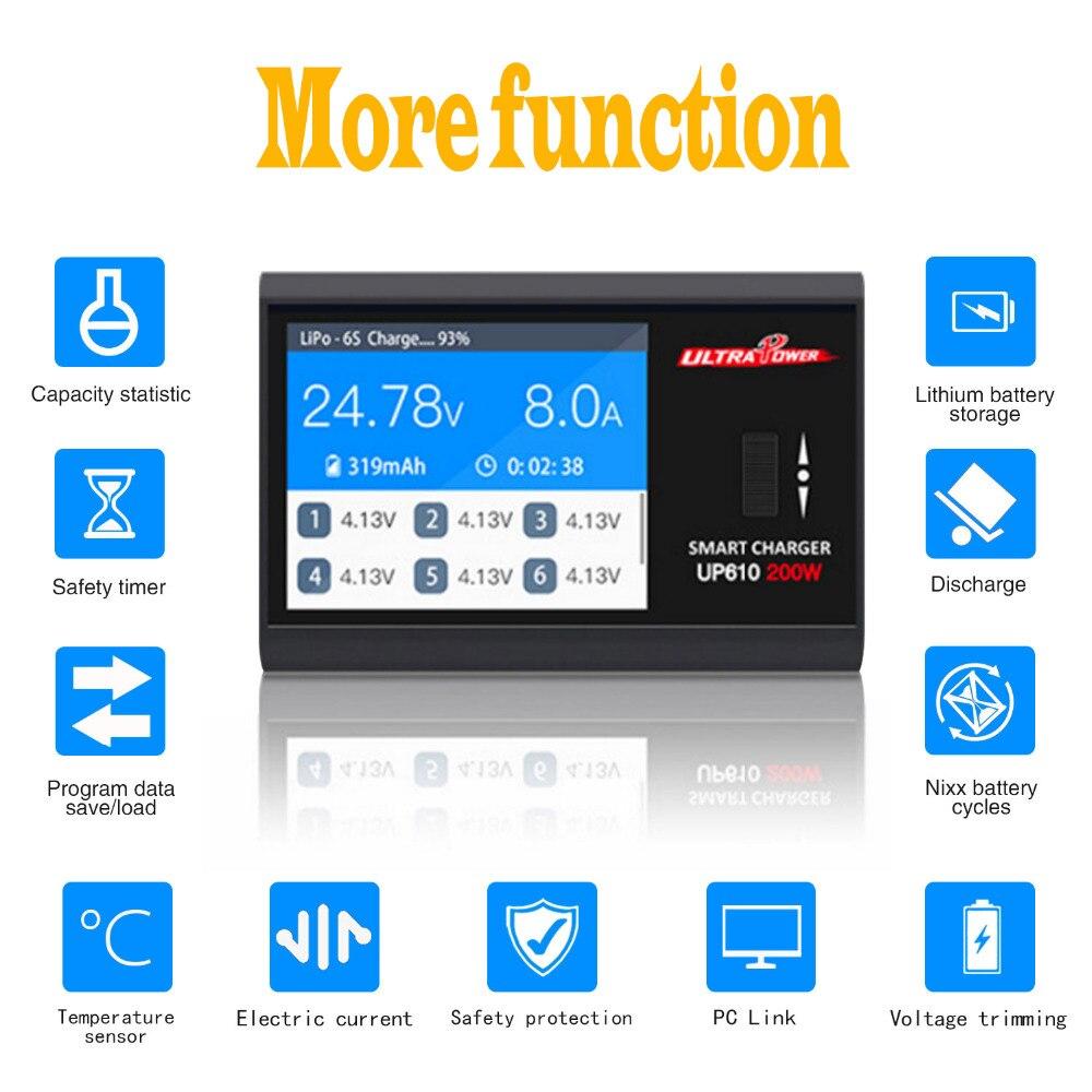 UP610 200 Вт портативное умное зарядное устройство для радиоуправляемого дрона квадрокоптера автомобиля 1-6S Lipo батарея 1-16S NiCd NiMH батарея RC заряд...