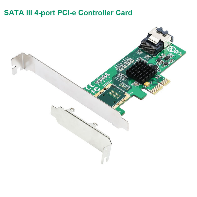 SATA III 4-port PCI-e Controller Card With Full And Low Profile Brackets  Marvel 88SE9215 Chipset