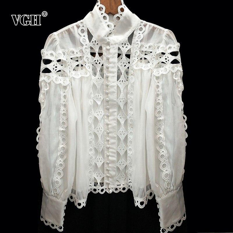 VGH été coréen évider femmes chemise col montant à manches longues bouton lâche solide Blouse Top femme mode nouveau 2019