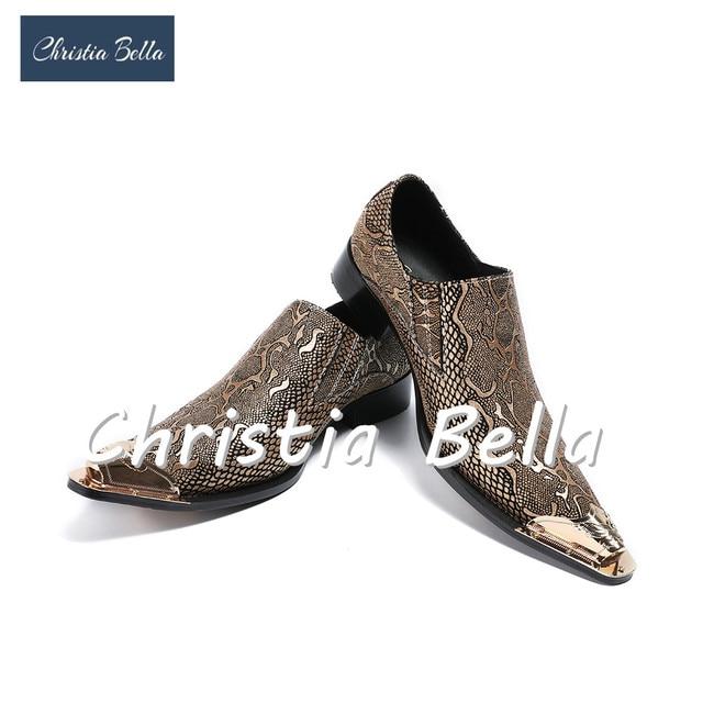 Christia Bella Men Dress Shoes Metallic Toe Mens Glitter Shoes Genuine Leather  Wedding Shoes for Men Nightclub Fashion Show e75c24e2a9e0