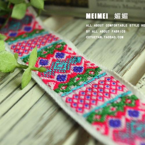 Aksesoris angin Etnis Miaoxiu bordir pita laciness DIY katun buatan tangan  stitch pita 2.8 cm renda pita ff269ed254