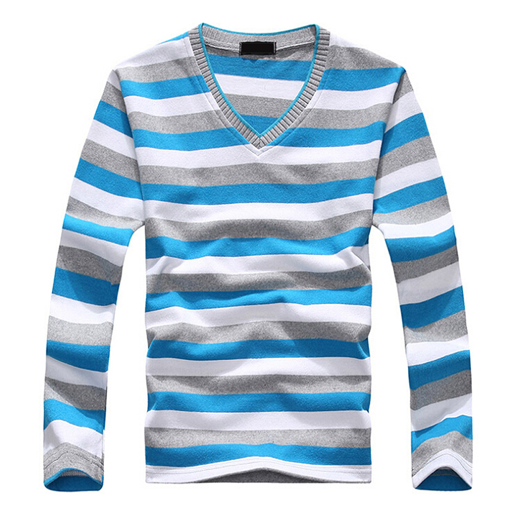Men's long-sleeved cotton stripes sweater