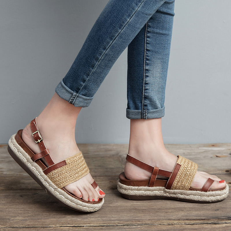 ec051a470c6 2017 Original Summer New Hemp Rope Woven Leather Sandals Handmade Simple  Cowhide Women Shoes TB1708 7-in Women s Sandals from Shoes on  Aliexpress.com ...
