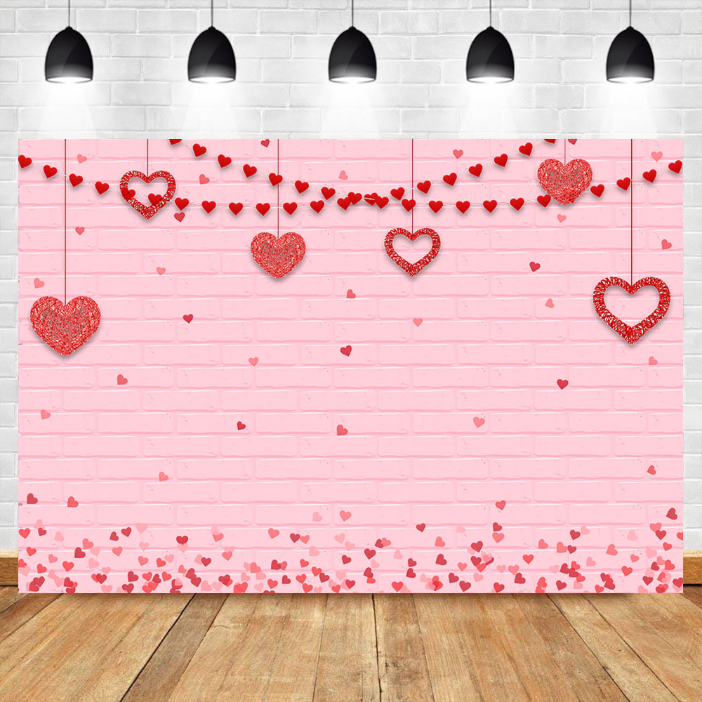 Neoback Valentine S Day Background Pink Brick Wall Backdrop Wedding Red Heart Shaped Decorated Banner Background Photography Background Aliexpress