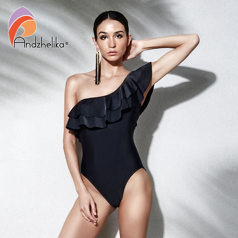 Andzhelika Women One Piece Swimsuit Ruffle Sexy 2018 Summer One Shoulder Swimwear Bodysuit Solid Black Beach