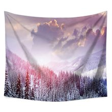 Mountain and Forest Psychedelic Tapestry Lightweight Polyester Fabric Wall Hanging tapiz Decorations for Bedroom Living Room(China)