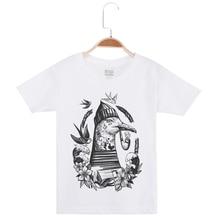 New Arrival Children Clothing Fashion Cotton Short Sleeve T-Shirt Kids Boy Tshirt Creative Printed Bird Girl T Shirt O-Neck Clot