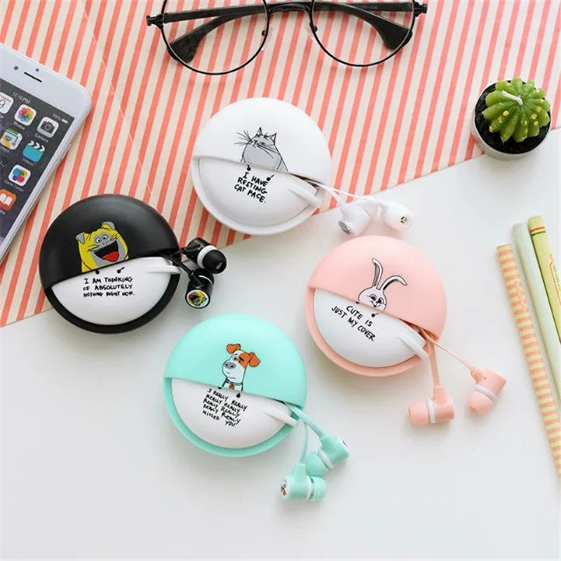 Cute Pets Macarons Stereo Earphones 3.5mm in-ear with Earphone Case for Phone Xiaomi Girls Kid Child Student for MP3 MP4 Gift