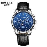 Lüks erkek kol saatleri deri erkek saatler Çok Fonksiyonlu mekanik Otomatik su geçirmez marka boyzhe saatler erkek|Mekanik Saatler|Saatler -