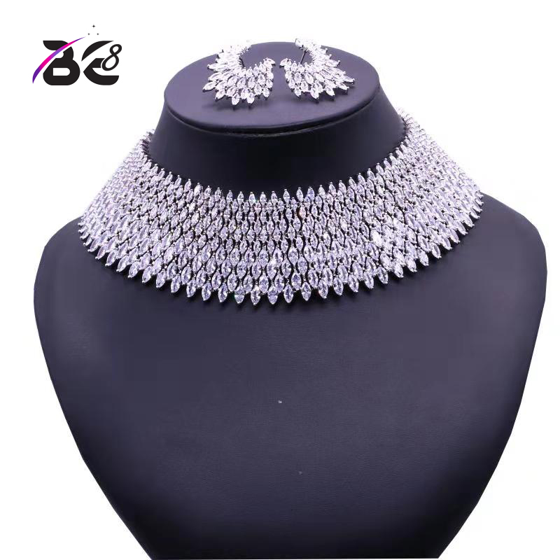 Be 8 Luxury Crystal Bridal Jewelry Sets White Color Pendant Necklace Earrings Sets Wedding African Beads