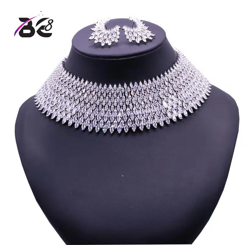 Essere 8 di Cristallo di Lusso Set di Gioielli Da Sposa di Colore Bianco Del Pendente Degli Orecchini Della Collana di Cerimonia Nuziale Africana Insieme Dei Monili Perline S125