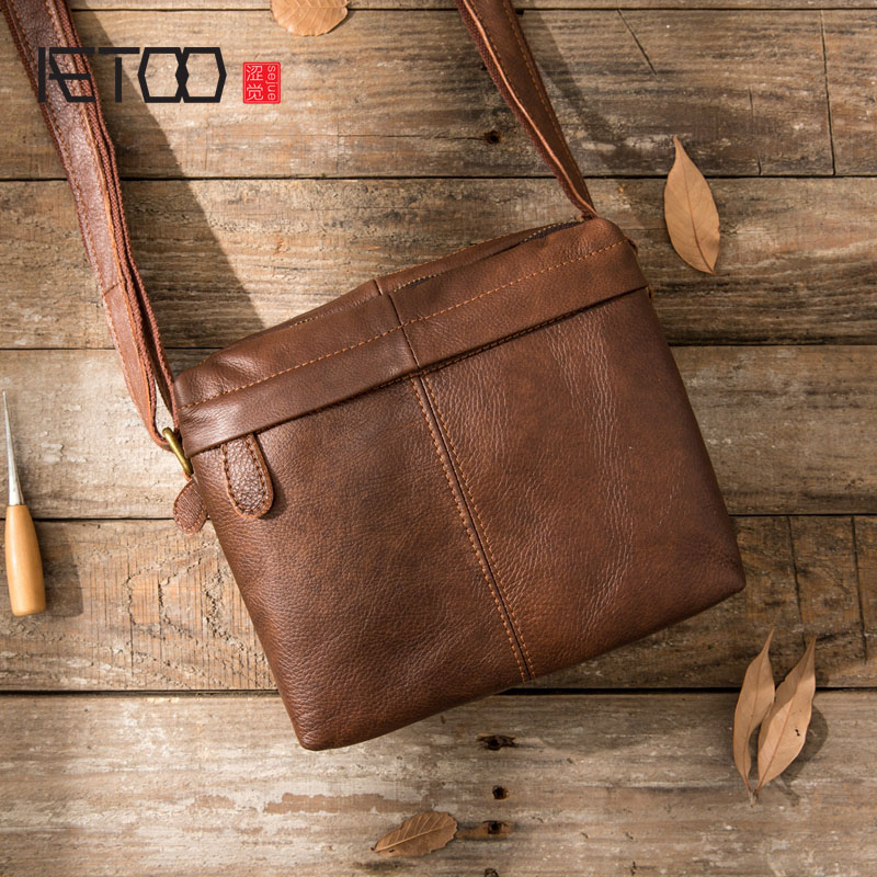 AETOO Original retro leather men bag shoulder bag head layer leather Messenger bag mens cross section casual fashion leather ba