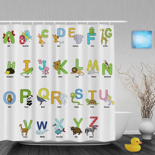 Beau Cartoon Animals Alphabet Letters Kids Shower Cutains Cute Children Bathroom  Curtains Polyester Waterproof Fabric With Hooks