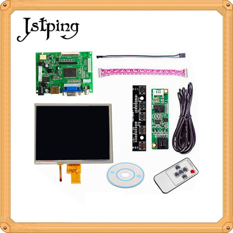 Jstping 8 polegada HD 1024*768 LCD screen display toque HJ080IA-01E HE080IA-01D Placa De Controle do Driver Para Raspberry Pi HDMI VGA AV