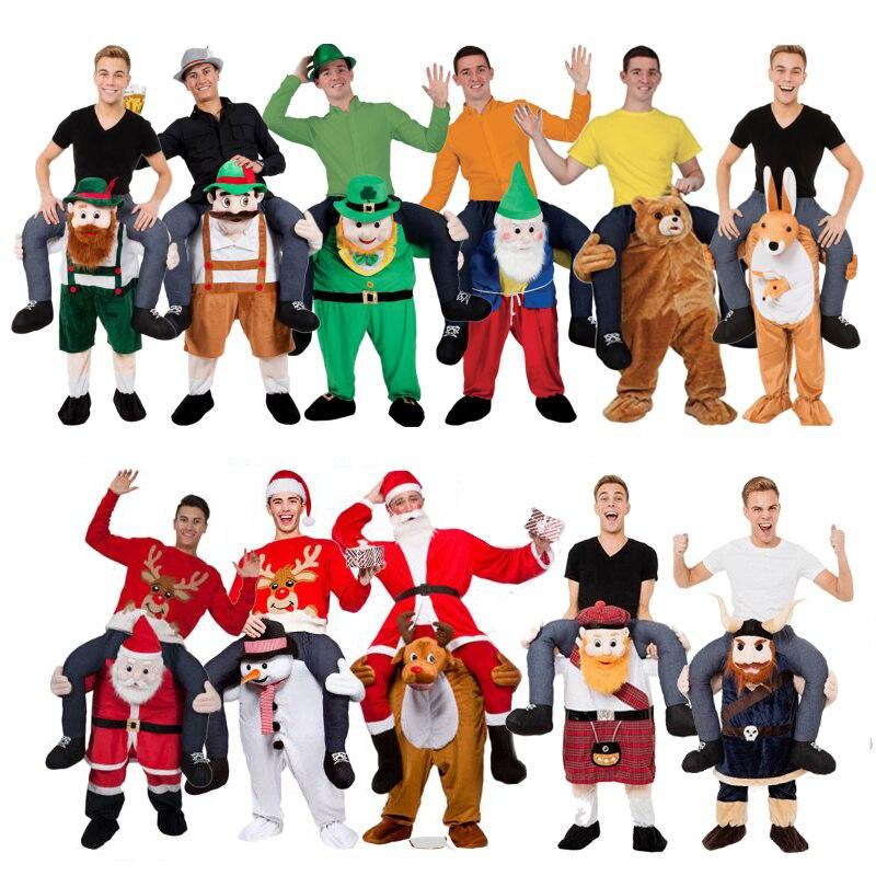 Adulte enfant nouveauté monter sur moi mascotte Costumes porter retour pantalons amusants noël Halloween fête Cosplay vêtements équitation jouets