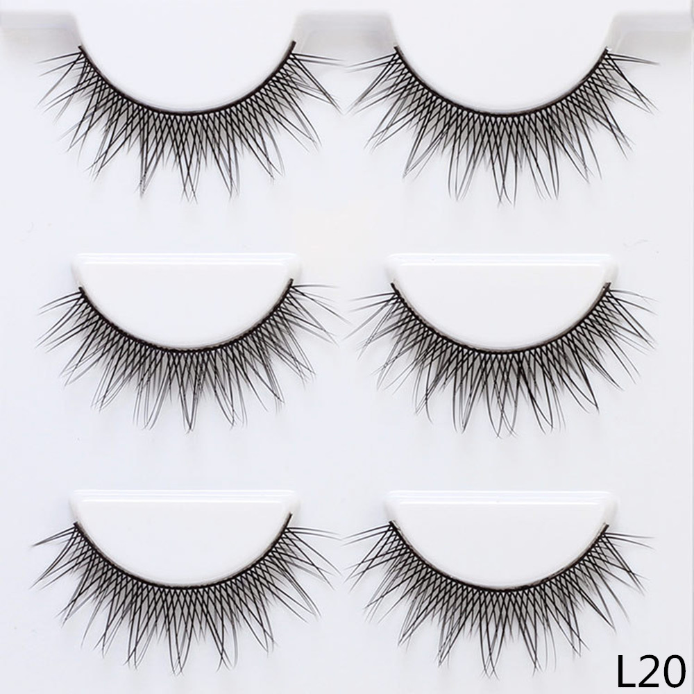 12mm Length False eyelashes 3 pairs/lot False Eye lashes Cross Natural Long Thin Lashes Women Makeup Decorative Cosmetic L20
