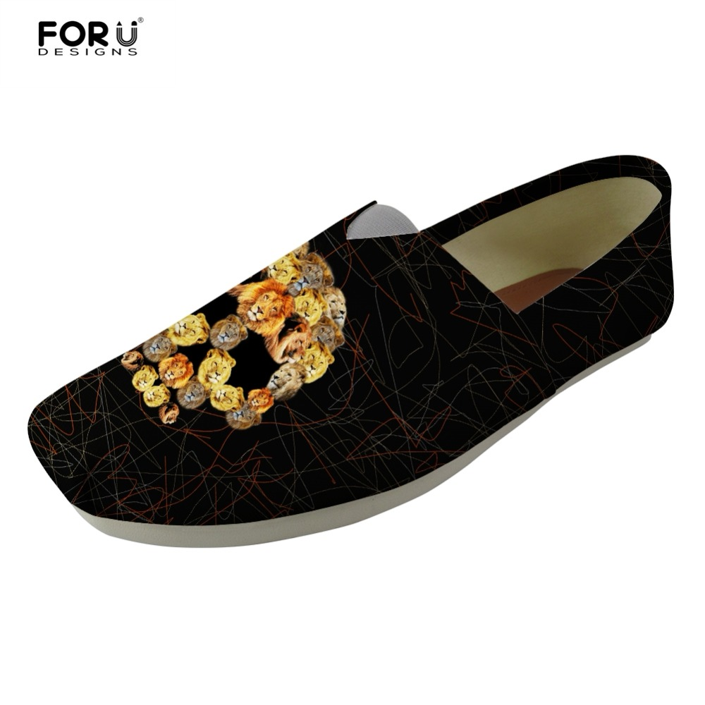 76588f43bc8 Aliexpress.com   Buy FORUDESIGNS Skull Pattern Men Loafers Shoes Cool Animal  Lion Tiger Print Flats Men s Casual Skateboarding Shoes Light Zapatos from  ...