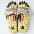 Any time Health care Wooden base acupunture foot massage slippers natural pebbles acupoint stimulate slippers