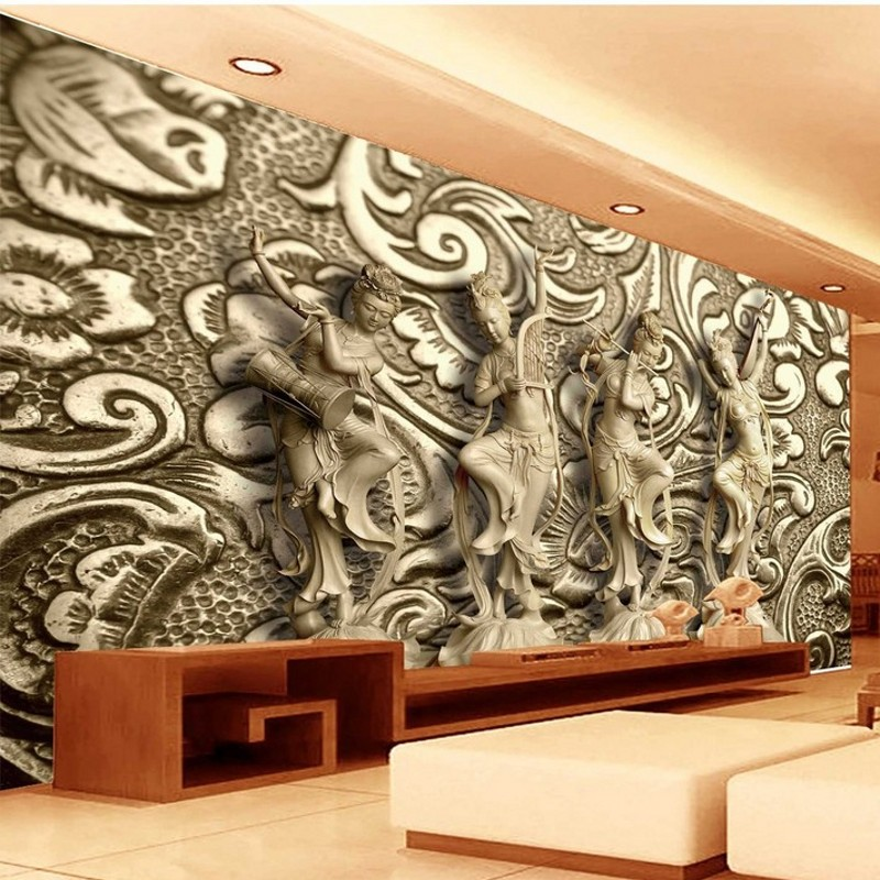 Beibehang Papel De Parede Custom Wallpaper Wall Stickers Large Frescoes Large Stone Carving Dunhuang Flying Living Room Backdrop