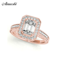 AINUOSHI Fashion 925 Sterling Silver Rose Gold Color Emeralded Cut Wedding Rings Women Engagement Halo Silver Ring Jewelry Gifts