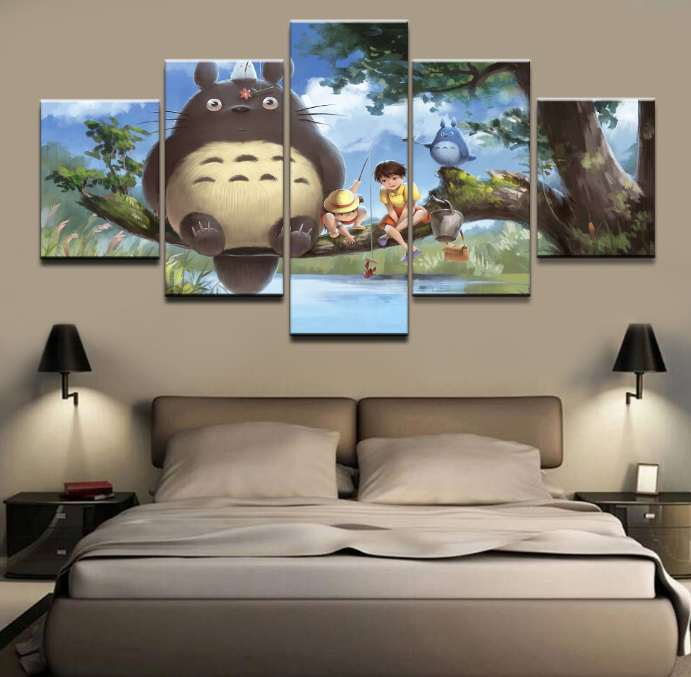 My Neighbor Totoro Cartoon Movie 5 Pieces Home Print Poster Canvas Painting Wall Art Living Room Modern HD Print Canvas Artwork in Painting Calligraphy from Home Garden