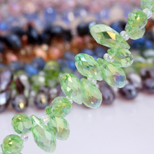 OlingArt Water droplets 6*12MM Austria Crystal Glass Beads charm Green AB colour Loose Spacer Bead for DIY Jewelry Making