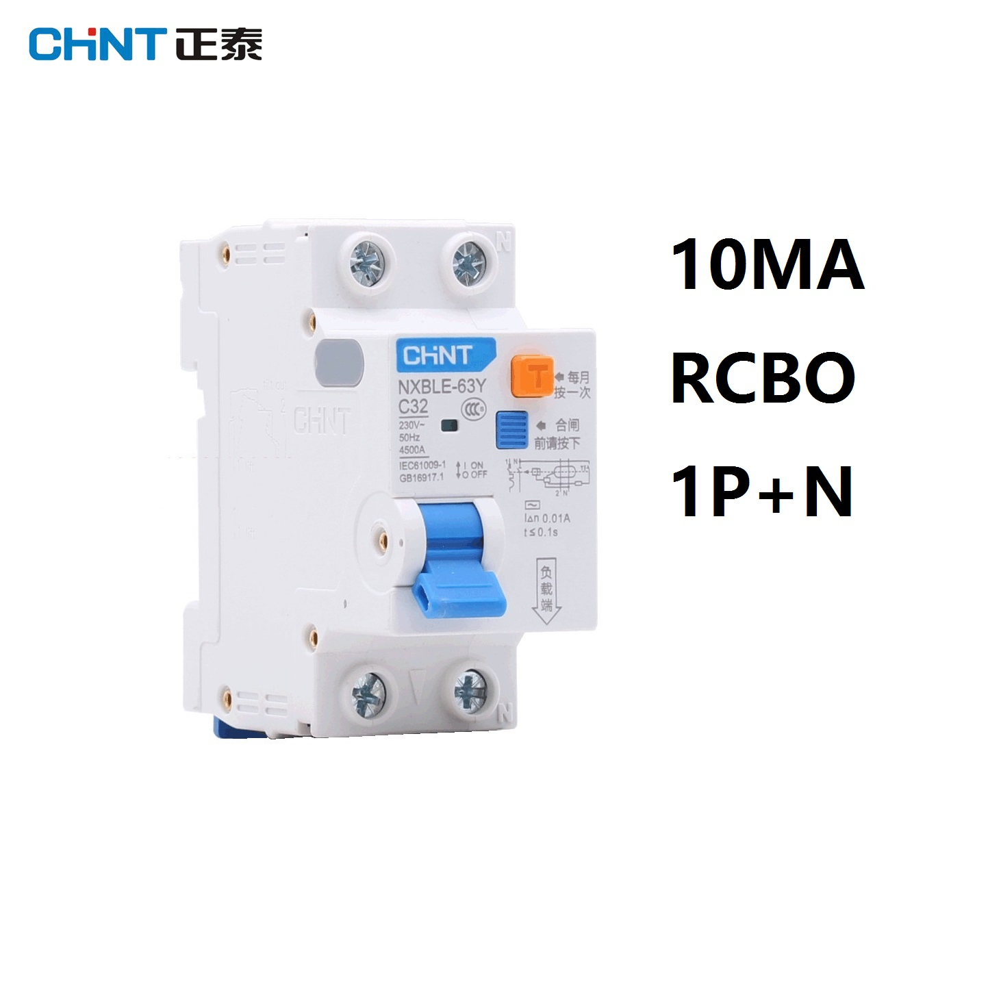 CHINT NXBLE-63Y 16A 32A 63A 10MA 0.01A RCBO 1P+N 230V Residual current Circuit breaker with over current and Leakage protection 63a 3 p 3 p n rcbo rcd выключателя de47le delxi