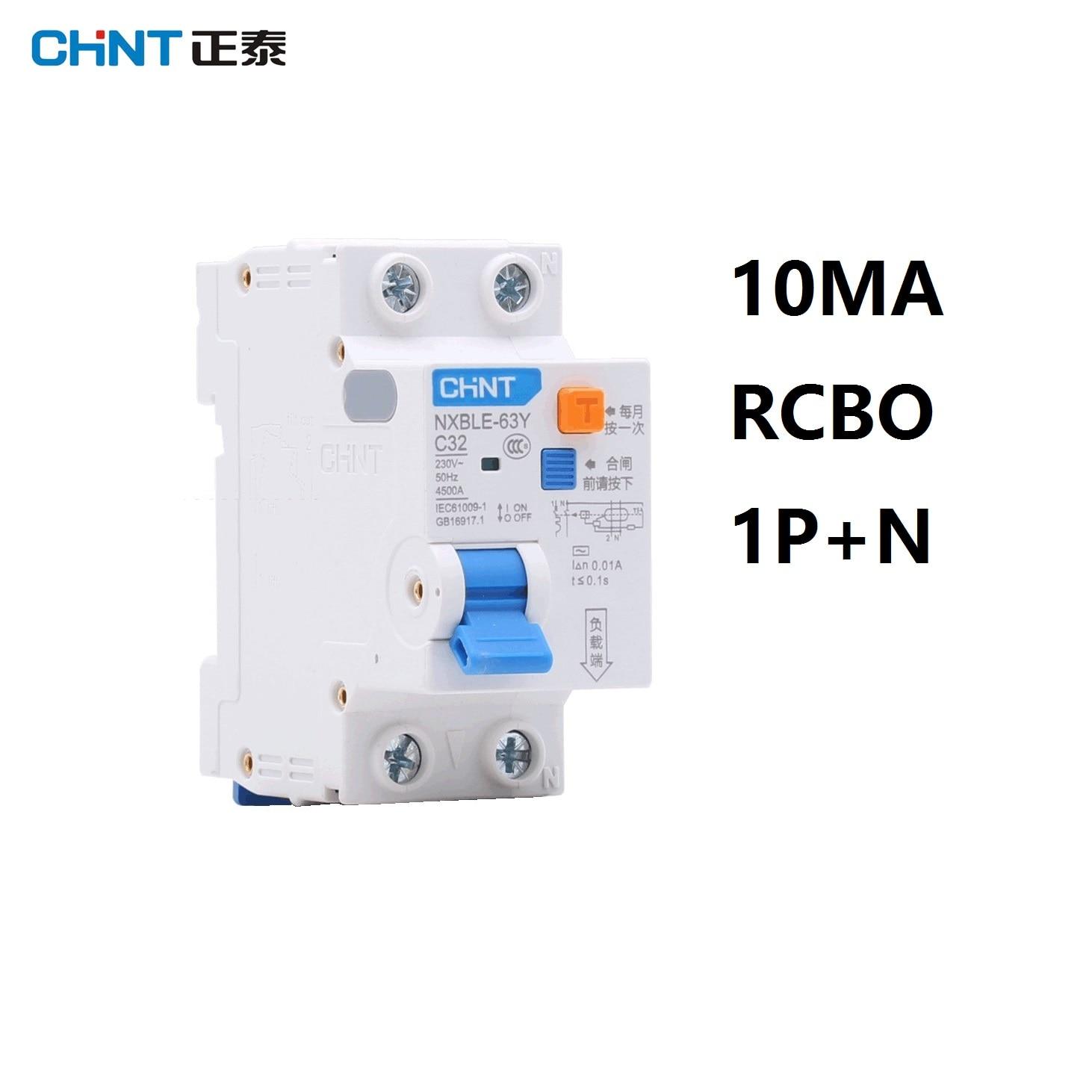 CHINT NXBLE-63Y 6A 10A 16A 32A 63A 10MA 0.01A RCBO 1 P + N 230 V disjuntor atual Residual sobre a corrente de proteção contra Vazamento