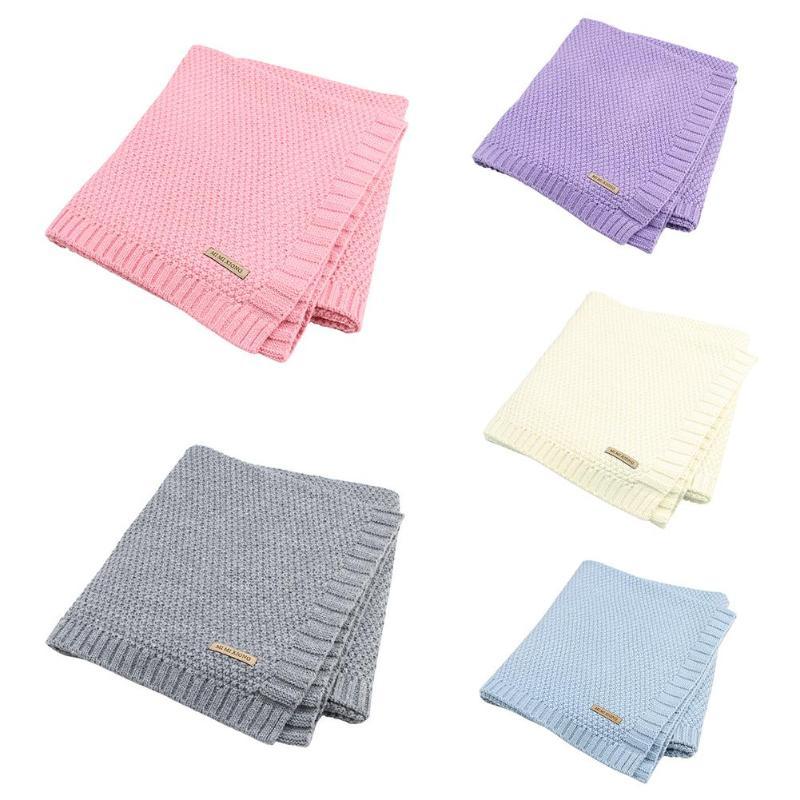 Nouveau-né couverture bébé ouate tricoté nouveau-né lange d'emmaillotage doux bambin literie canapé literie couette solide couleur poussette couverture