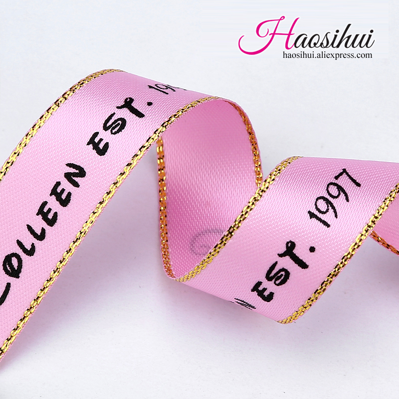 (16mm,23mm,39mm) Custom Wire Edge Ribbon With Wedding Brand Logo And Party Gifts Car Decoration Wedding Party 100yards/lot
