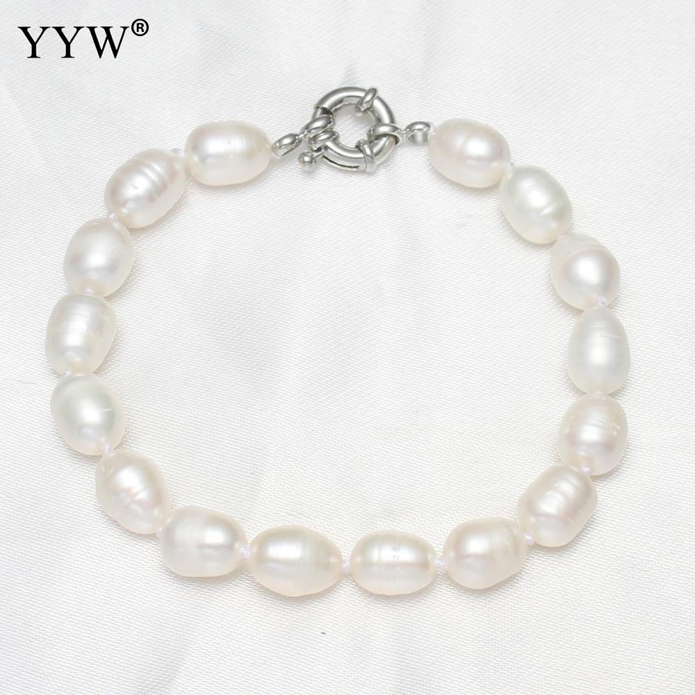 Fashion Women Lady Freshwater Cultured Pearl Bracelet 7 Inch 5-6mm Jewelry Gifts