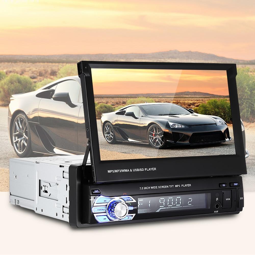 1 Din 7'' HD Digital Retractable Screen Bluetooth Car Radio mp4 mp5 Player FM Autoradio Multimedia Player Steering Wheel Control цена