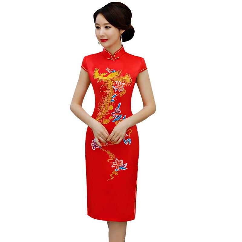 Nouveau rouge traditionnel chinois femmes Satin robe grande taille M-3XL bouton Vintage Qipao nouveauté Sexy imprimé fleur court Cheongsam