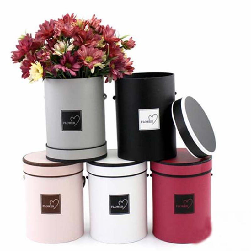 1PC Mini Portable Korean Flower Box Round Hug Bucket Trumpet Gift Box With Lid Florist Flower Bouquet Package 14*18 CM