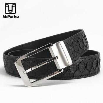 McParko Genuine Snakeskin Leather Belt Men Luxury Python Snake Skin Waist Belts 38mm Stainless Steel Buckle Strap For Suits