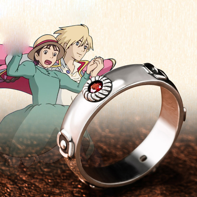 Howl's Moving Castle Ring Hayao Miyazaki Anime Howl Sophie Cosplay Ring Silver Jewelry for Girlfriend Boyfriend
