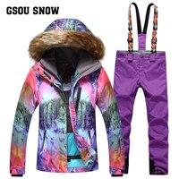 GSOU снег Новинка 2017 года Зима Для женщин лыжный костюм ветрозащитная теплая утолщенная Водонепроницаемый дышащий лыжная куртка + лыжные шта