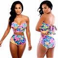 Impreso 2 Unidades Set Impresa Mujer de Talle Alto Bikinis Playa Traje de Baño Para Mujer Recortada Top Y Shorts Sets