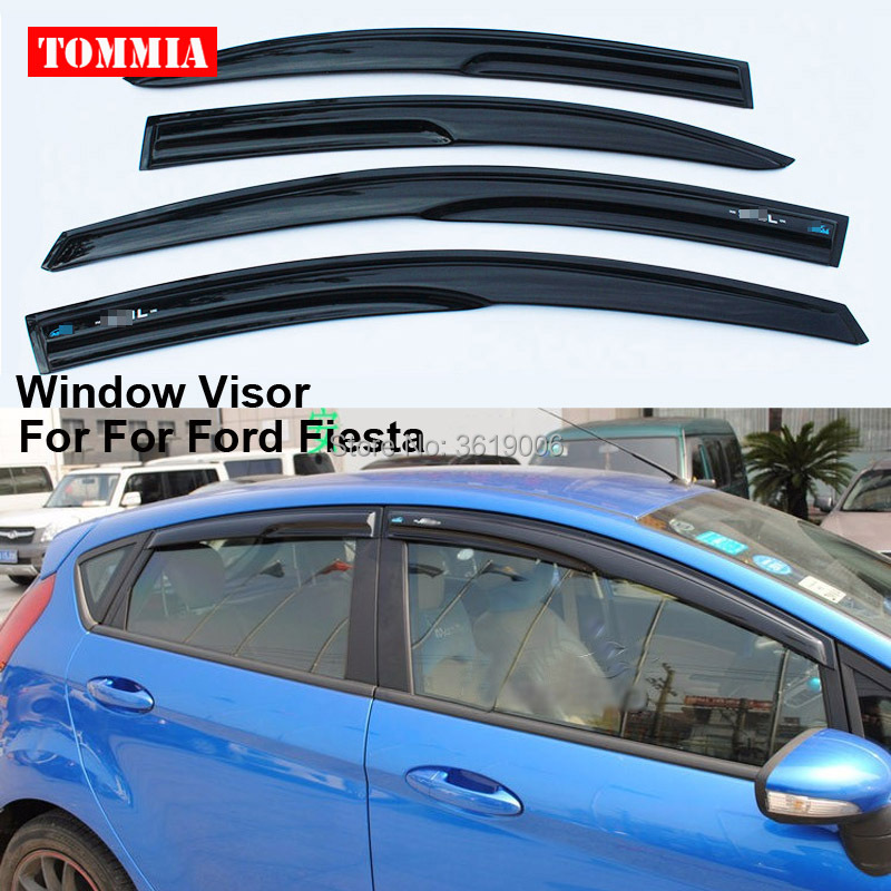 tommia 4pcs Window Visor Shade Vent Wind Rain Deflector Guards Cover Fit For Ford Fiesta for toyota hilux car wind deflectors window guards rain visor for toyota hilux vigo pickup 2005 2010 hilux wind deflector guards