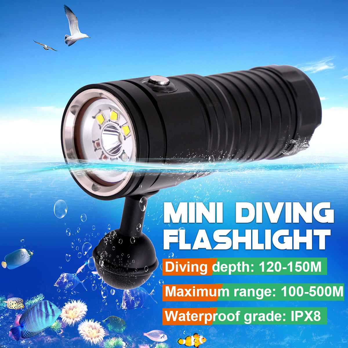 L2 V6 LED lampe de poche de plongée Mini 4000 Lumens 150 m torche de plongée sous-marine lumière UV lampe de poche de plongée lampe de recharge photographique
