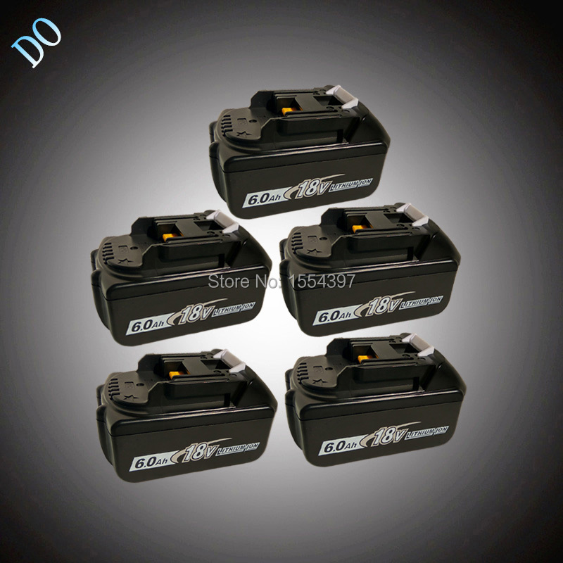 5pcs 18V Lithium Ion Battery 6000mAh Replacement for Makita BL1830 BL1840 BL1850 LXT400 BL1815 Power Tool Rechargeable Li-ion sreen rechargeable lithium ion battery 6000mah replacement for makita 18v bl1850 bl1840 bl1830 bl1860 lxt400 power tool battery