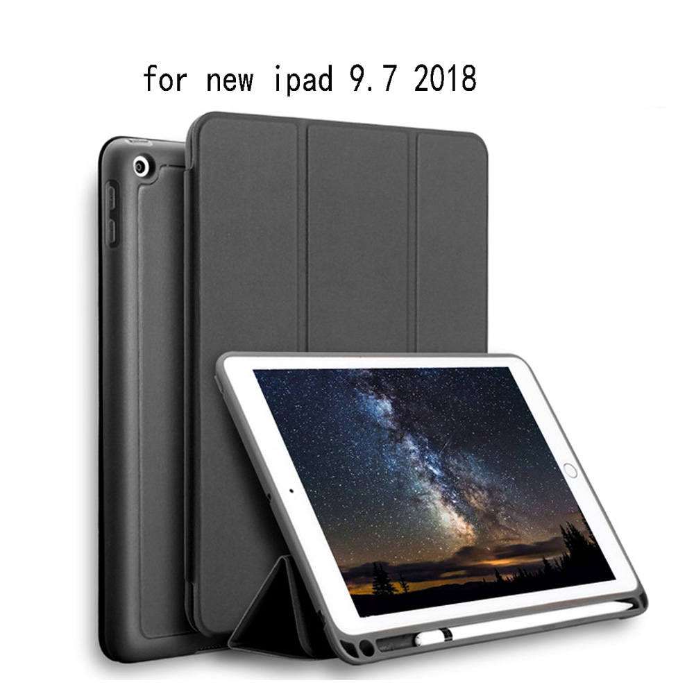 Case with Pencil Holder For APPle iPad 9.7 inch ( 2018 New ) A1893 A1954, PFHEU PU Leather Smart Cover Auto Sleep Wake