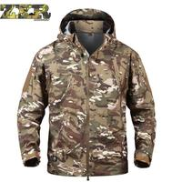 Military Tactical Uniforms Army Camouflage Waterproof Soft Shell Windbreaker Coat Army Hooded Camo Hunt Clothes For Men