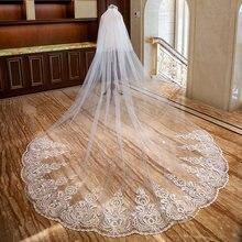 Véu de noiva romântico com 5m, véu de noiva com duas camadas, aplique, pente longo, feminino, presentes para casamento 2019 acessórios
